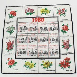 Vintage 1980 Calendar Monthly Flower Handkerchief